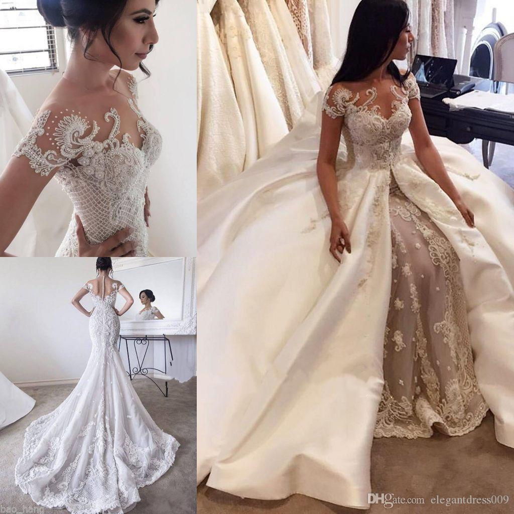 2018 Lace Mermaid Wedding Dresses Dubai African Arabic: Sheer Neck 2018 Gorgeous Lace Mermaid Wedding Dresses With