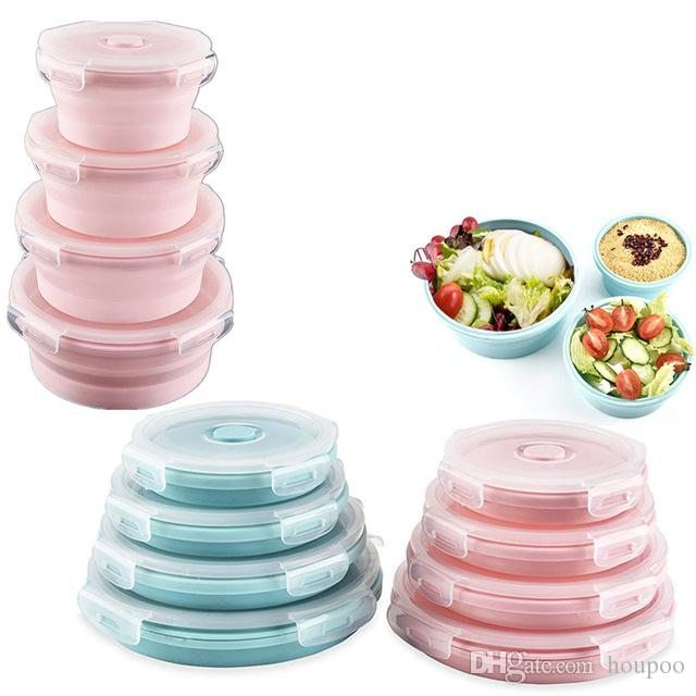 4pcs Set Foldable Silicone Lunch Box With Lid 5Colors Round Dinner Plates Set Household Supplies Kitchen Accessories Travel Tools