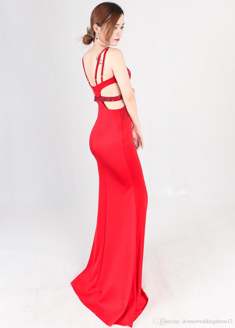 2018 Sexy Fashion Blau / Rot / Schwarz Perlen Lange Prom Kleider Aushöhlen Riemen Backless Abendkleider Formale Party Kleid Maxi Kleid Vestioids