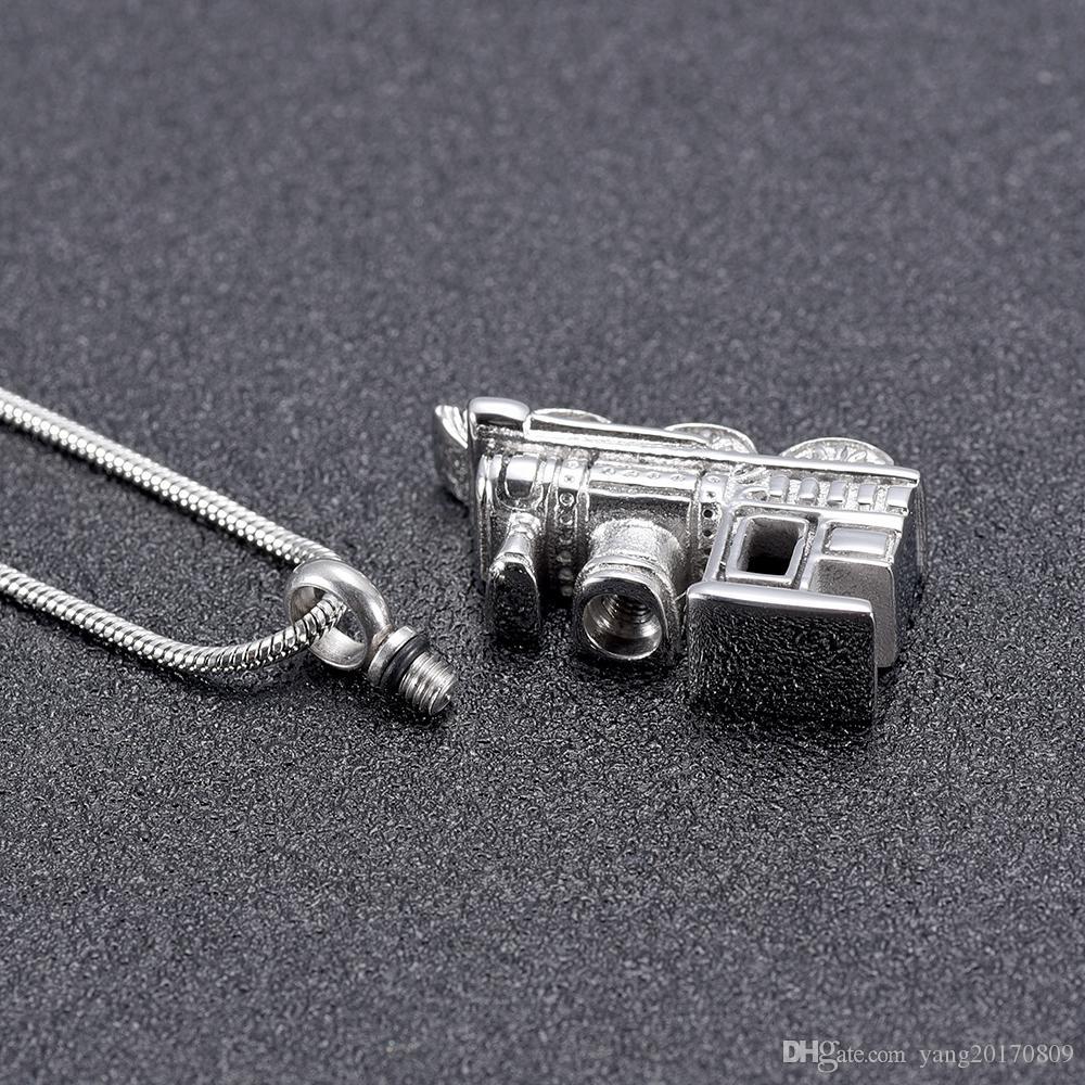 Acero inoxidable IJD10001 Mini personalizado del recuerdo de la urna de tren Collar conmemorativo cremación para mascotas humano cenizas joyería del sostenedor del regalo