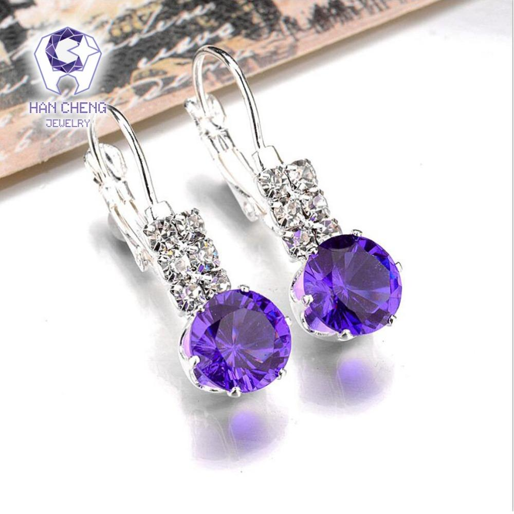 New Fashion Delicate Romantic Silver Plated Rhinestone Round Created Crystal Stud Earrings For Women Jewelry brincos Bijoux