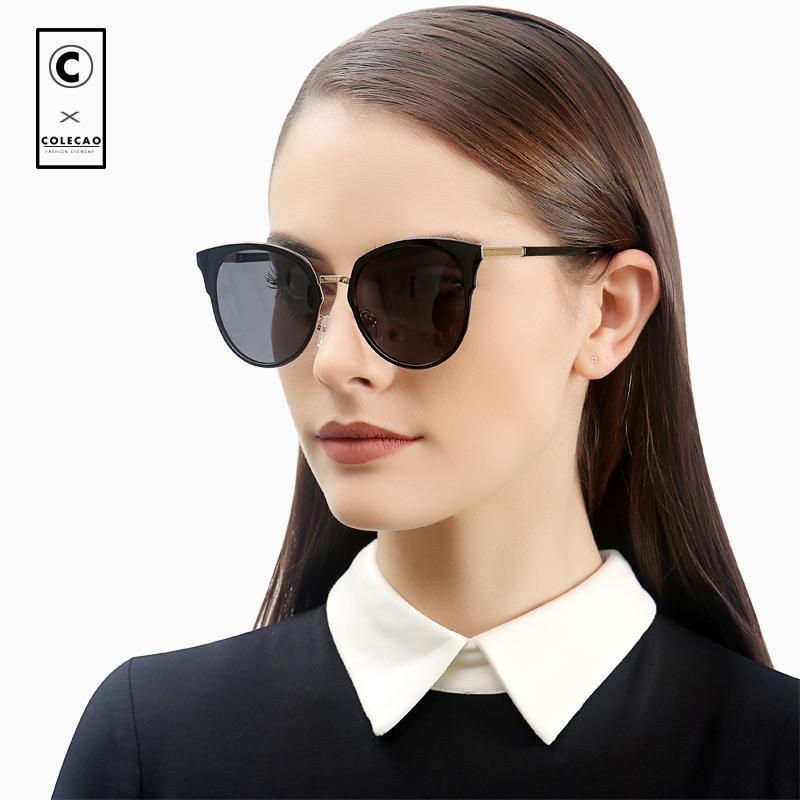 edd55dfba81 COLECAO High Quality Cat Eye Sunglasses Women Polarized Lenses UV400 Nieuw  Vintage Blue Mirror Glasses For Ladies With Case 8050 Designer Eyeglasses  Womens ...