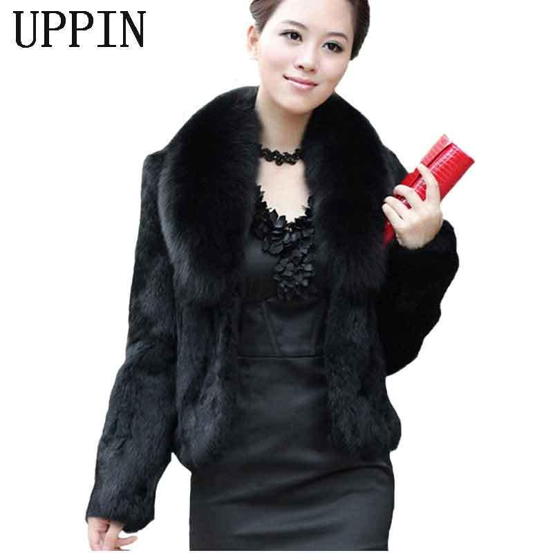 brand new 65323 479c1 UPPIN 2017 caldo autunno inverno donne cappotto di pelliccia nero grande  collo di pelliccia a maniche lunghe visone design dei capelli tuta sportiva  ...
