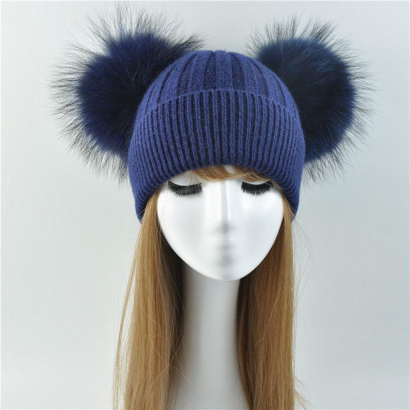 Double Real Raccoon Fur Pompom Hat Women Winter Caps Knitted Wool Hats  Skullies Beanies Girls Female Two Fur Pom Pom Beanie Hat Caps Cap From  Handofart 9c2b07d121