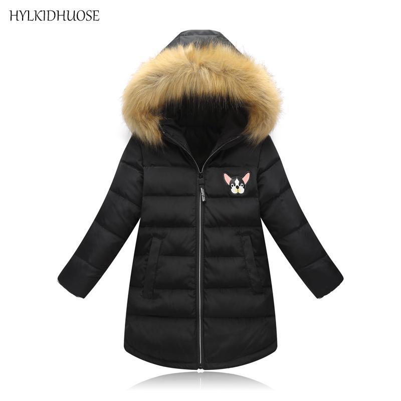91b19b687c2e HYLKIDHUOSE 2018 Winter Girl Coats Female Children Long Jacket ...