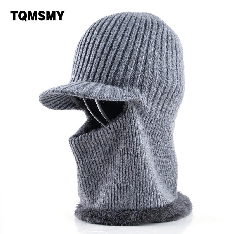9a8404f9 Thickening knitted wool cap Men's winter hat Keep warm beanies men bonnet  balaclava face Mask hats for men beanie Dual-use gorro D18110601
