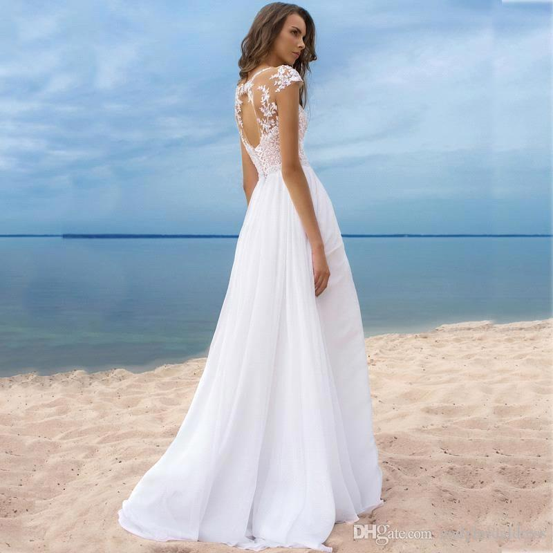 Modest 2020 Beach Wedding Dresses Cheap Lace Cap Sleeves Chiffon High Split Lace-Up Back Long Bridal Gowns Custom Made From China