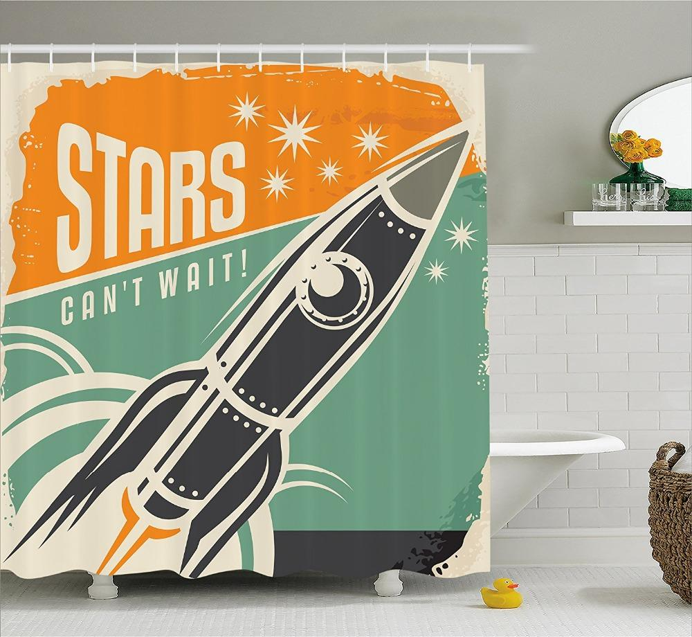 2018 Vintage Decor Shower Curtain Stars CanT Wait Retro Advertisement With Rocket Figure Launch Fabric Bathroom Set Hooks From Sophine11