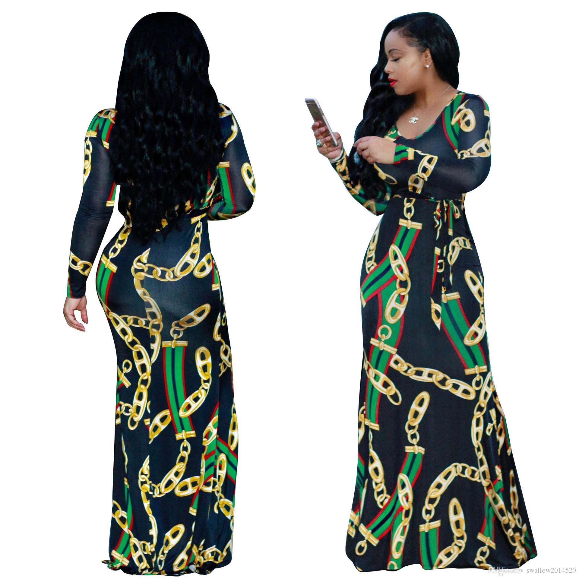 49b69b2ae85ec 2018 Autumn Womens Maxi Dress Traditional African Print Long Dress Dashiki  Elastic Elegant Ladies Bodycon Vintage Chain Printed Plus Size Party Dress  White ...