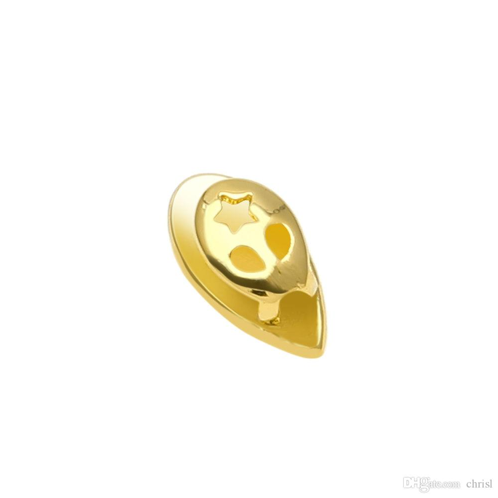 Hip Hop 14K Gold Plated Single Teeth Grills Custom Fangs Tooth Caps Vampire Fang for Halloween Party Jewelry Gift