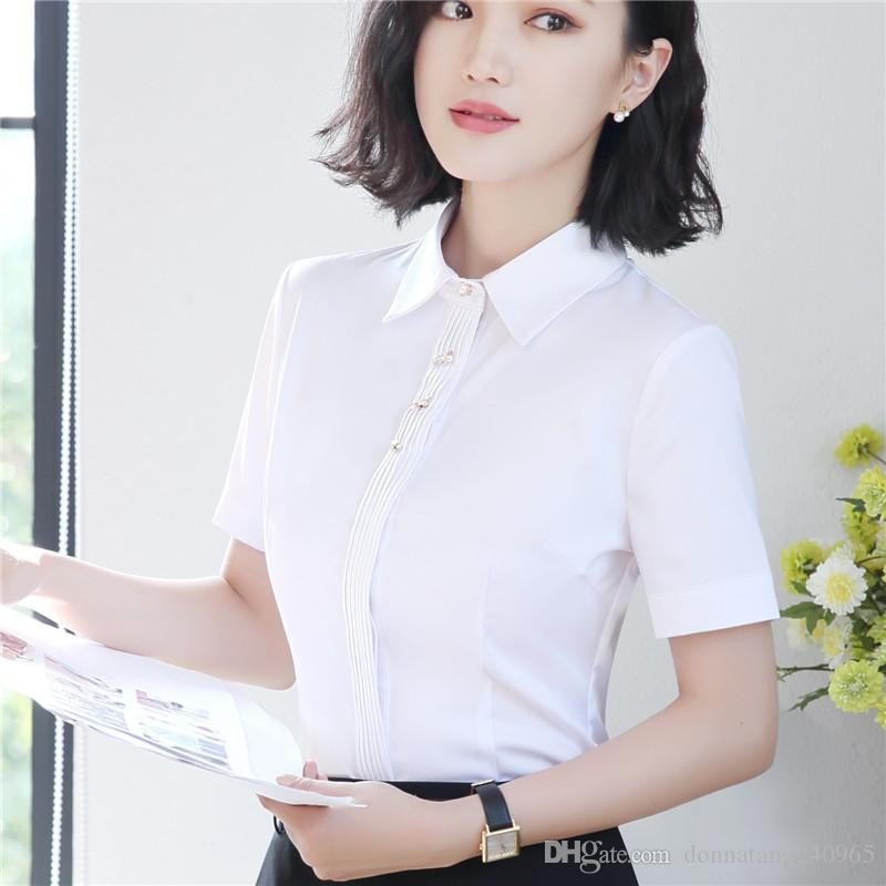 7b03daf89f7 2019 Summer Short Sleeve Chiffon Style Blouse Fashion Elegant Shirt Female  Work Wear Office Ladies Tops Plus Size Women Office Work Clothes From ...