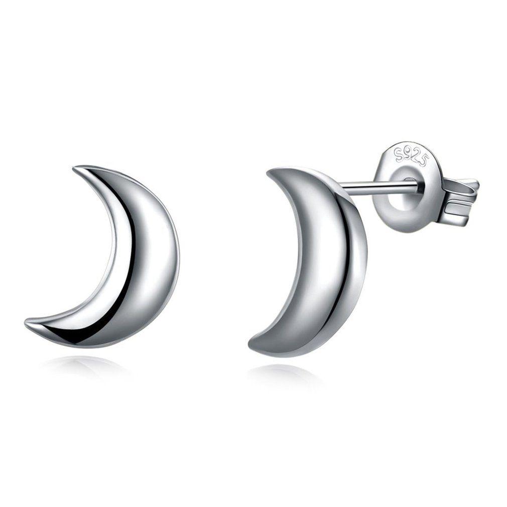 c1a5ddb87 925 Silver Half Moon Shape Women Earrings Lady Ear Stud Ear-Ring Party  Wedding Ear Decorative Ornament Valentine's Day Gift. Jewelry sales