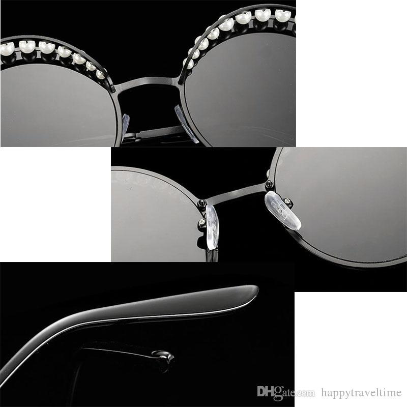 Occhiali da sole tondi moda donna vintage Steampunk Pearl Sunglasses