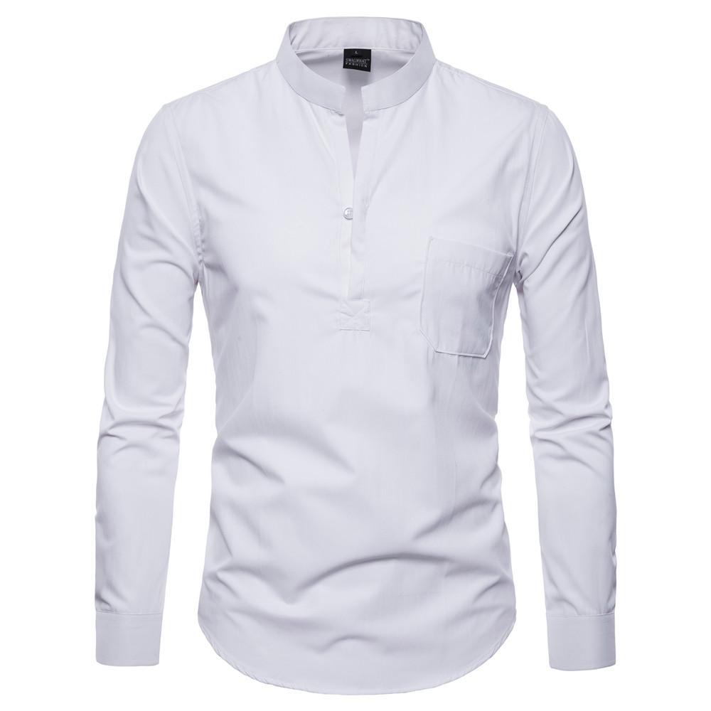 2018 Brand 2018 Fashion Male Shirt High Quality Long Sleeves Tops