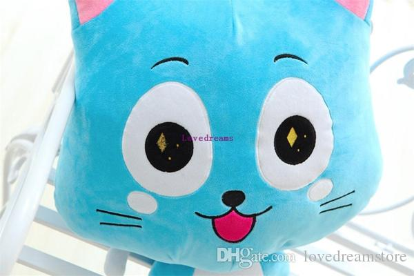 20cm Anime Fairy Tail Happy & Charles phone Straps Plush Toy Kawaii Happy & Charles Cat Stuffed Toys Doll Figure Toy for Kids Gifts