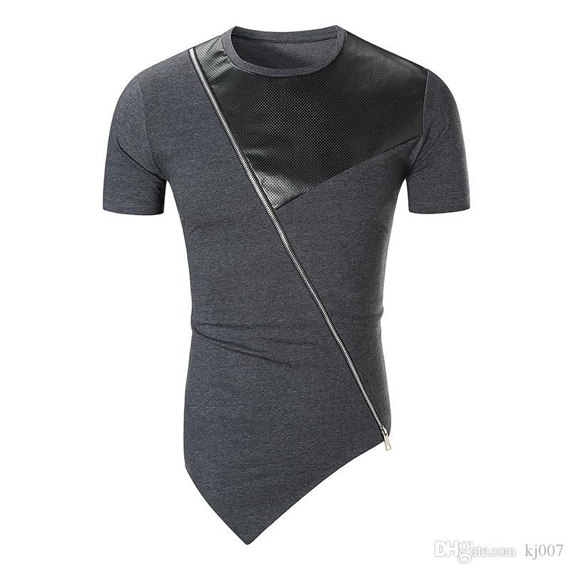 New Brands T Shirts Irregular Hip Hop Panelled Leather Casual Shirts Oblique Zipped Fashion Shirts Men Solid Hip-Hop Short-sleeved T-Shirt
