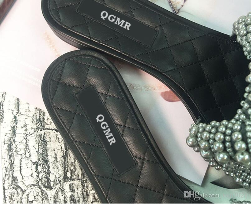 Women Slippers Summer fashion brand sexy Classic Diamond lattice Luxury Cool Pearl Beads flash travel sea Beach flat flip flops