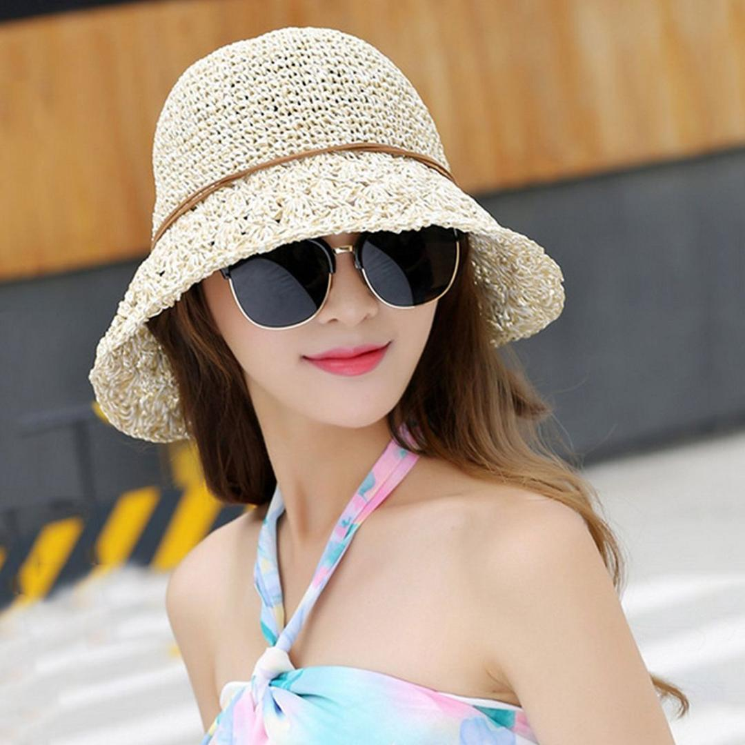362e489353ed2 Sun Hat Bucket Girls Lady Beach Straw Hat Summer Sun Protection Packable  Foldable Cap Bow Knot String Traveling Fedoras Beanie Hats From Boiline