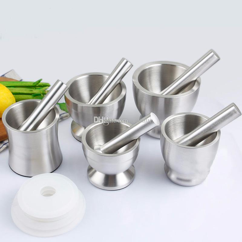 Garlic Grinder Practical Stainless Steel Mortar and Pestle Kitchen Garlic Herb Mills Grinder Bowl Kitchen Cooking Tool WX9-357