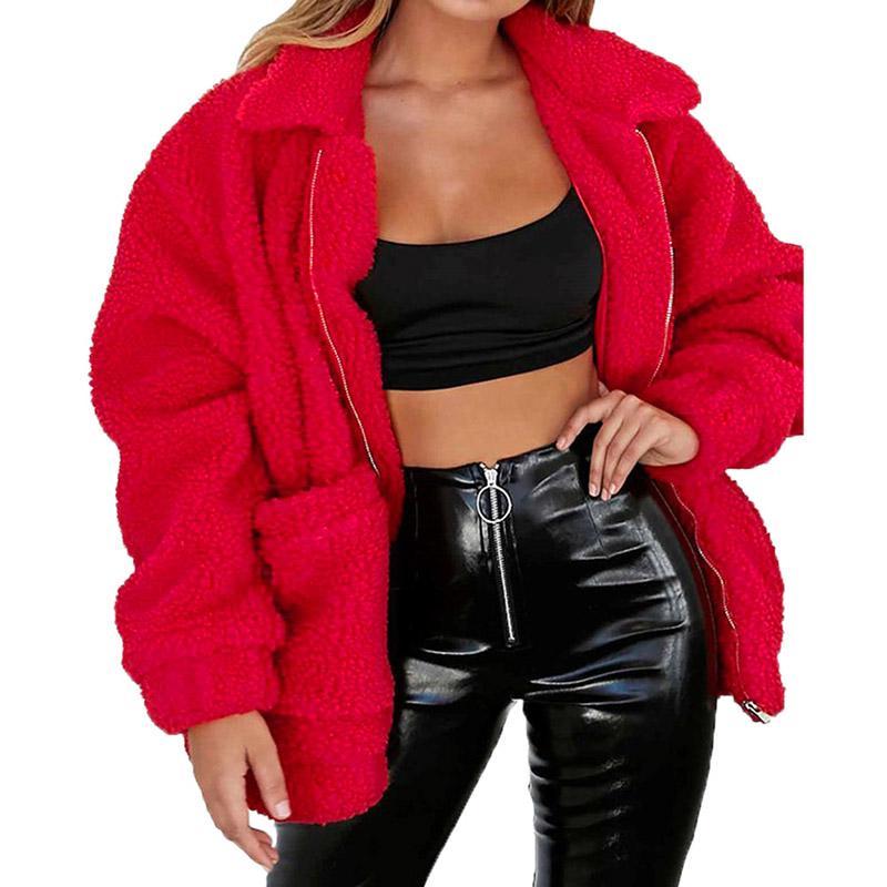 87450b70c68bf Faux Fur Warm Winter Coat Plus Size S-2XL Women Fashion Fluffy Shaggy  Cardigan Bomber Jacket Lady Coats Zipper Outwear Online with  67.27 Piece on  ...