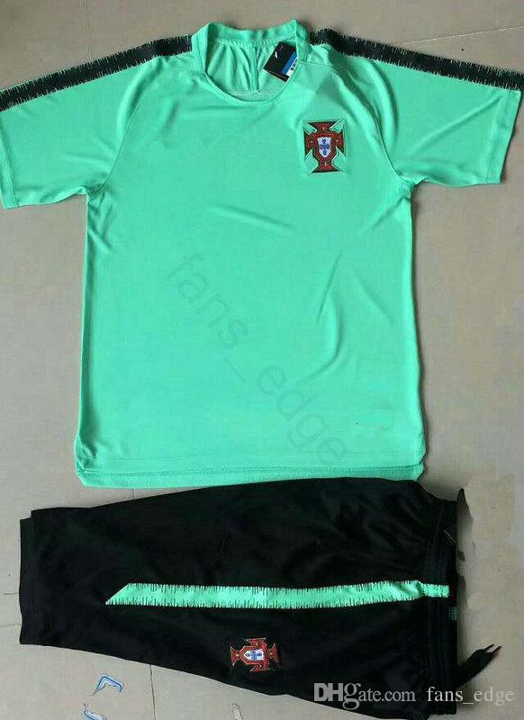 Tuta da allenamento a manica corta nazionale Portogallo World Cup 2018 verde nero personalizzata Qualsiasi numero nome Calcio Tuta Tuta da calcio