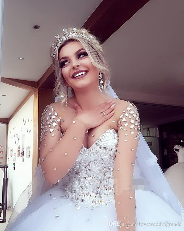 2019 Bling Beads Crystal Ball Gown Wedding Dresses Dubai Women Tulle Sheer Long Sleeves Plus Size Bridal Gowns