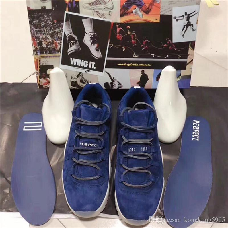 8cea1073ff7099 Newest Release 11 Low RE2PECT Basketball Shoes For Men Blue Suede ...
