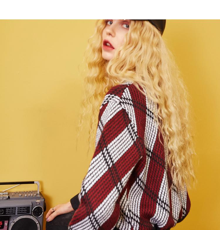 ELF SACK Autumn New Woman Sweater Casual Hand Knitted O-Neck Full Women Pullovers Plaid Streetwear Femme Sweater Pullovers