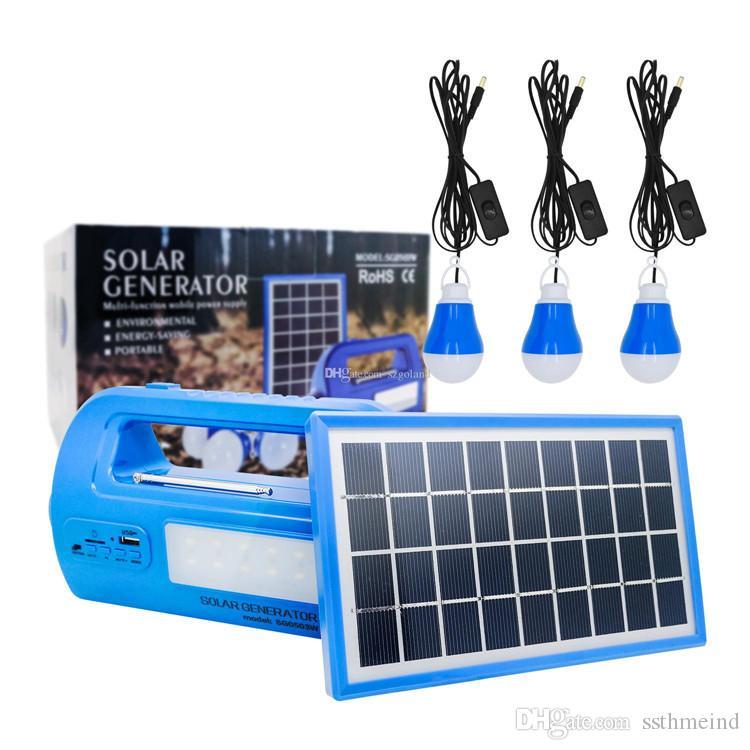 90615c149f7f3 Acheter Kit D'éclairage Solaire Panneau Solaire Système Solaire Accueil  Générateur Solaire Multifonction Avec 3 Ampoules LED Et 2 Ports USB De  $21.59 Du ...