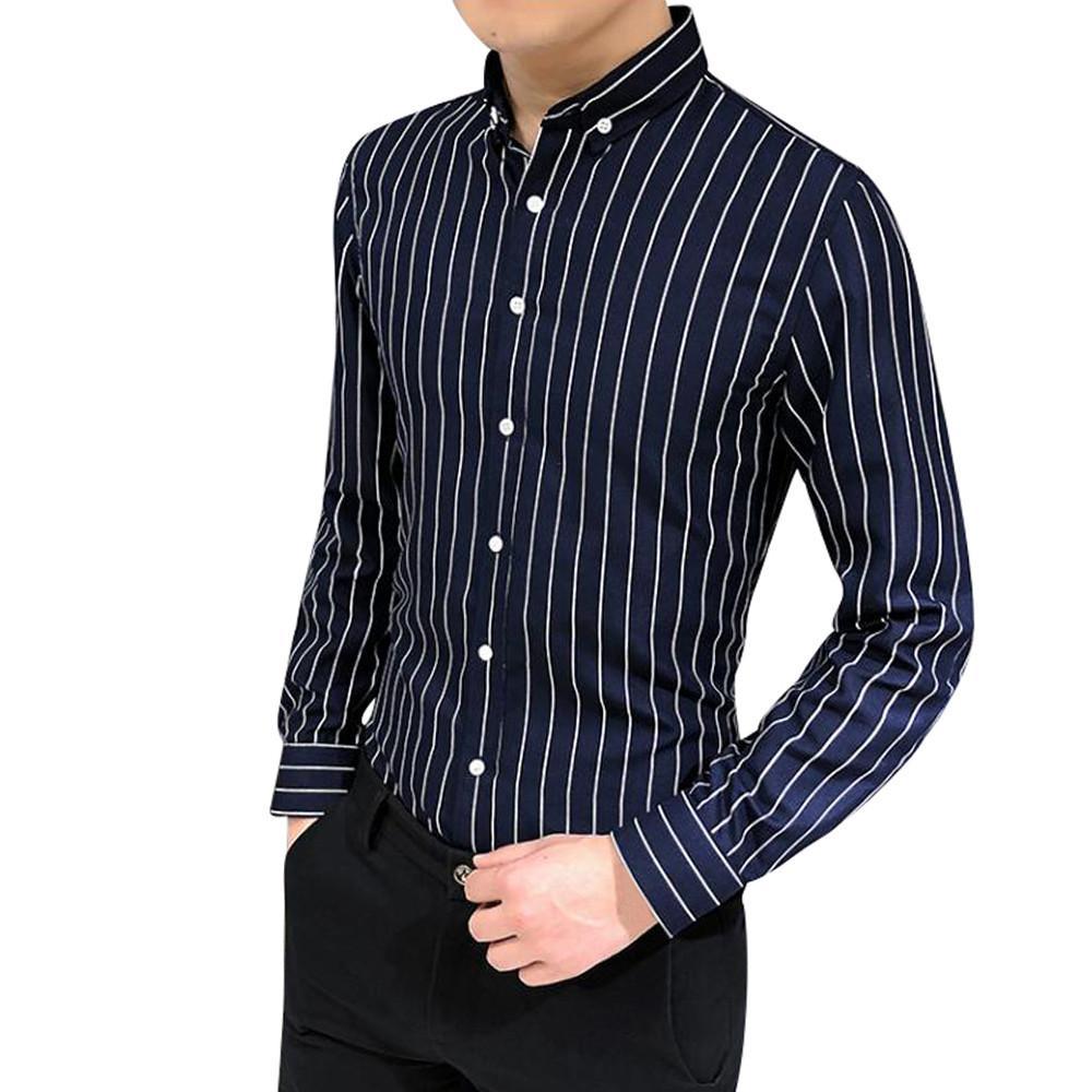 5a1a69376ce69 La Tops Rayas Otoño Características Camisas Compre Primavera Larga Para Fit  Hombre De Vestido De Traje ...