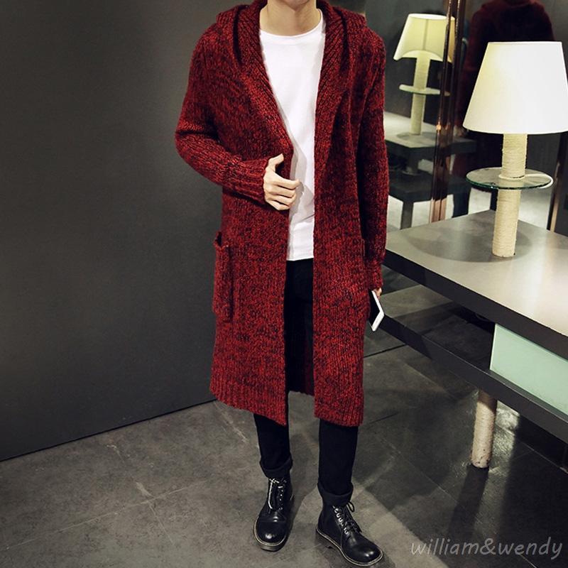 Męska zima z długim czerwonym mohair dzianiny sweter para kardigan jumper jersey hombre ciepłe płaszcze