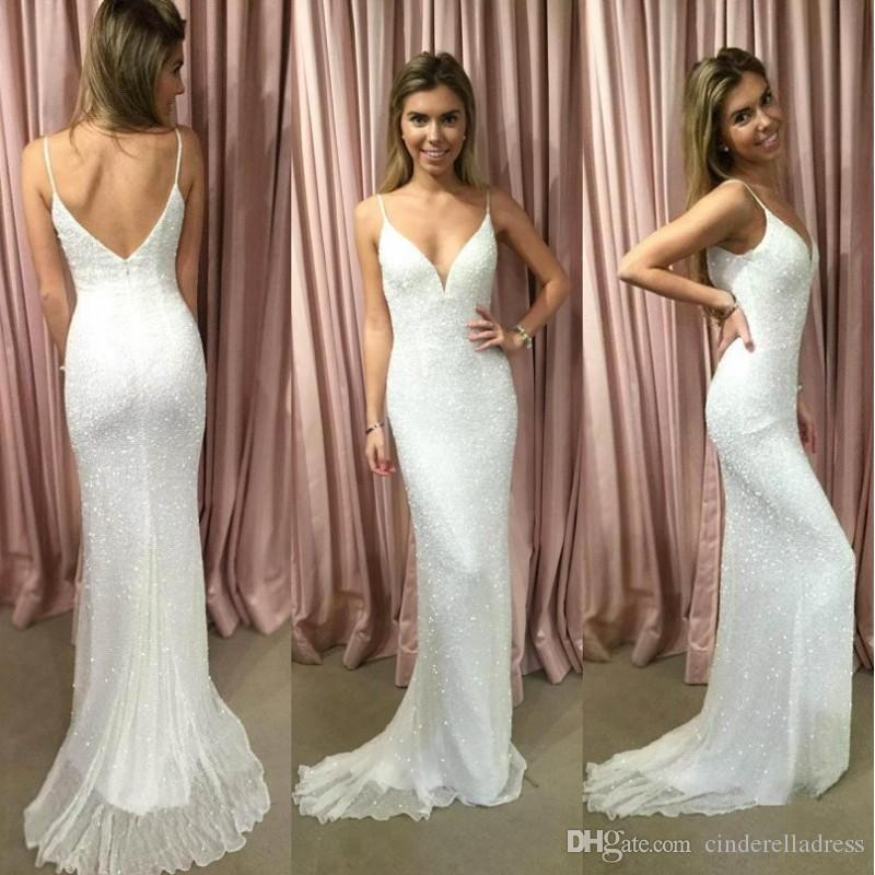 Simple Wedding Dresses Open Back: Simple Sequins Spaghetti Straps Mermaid White Wedding