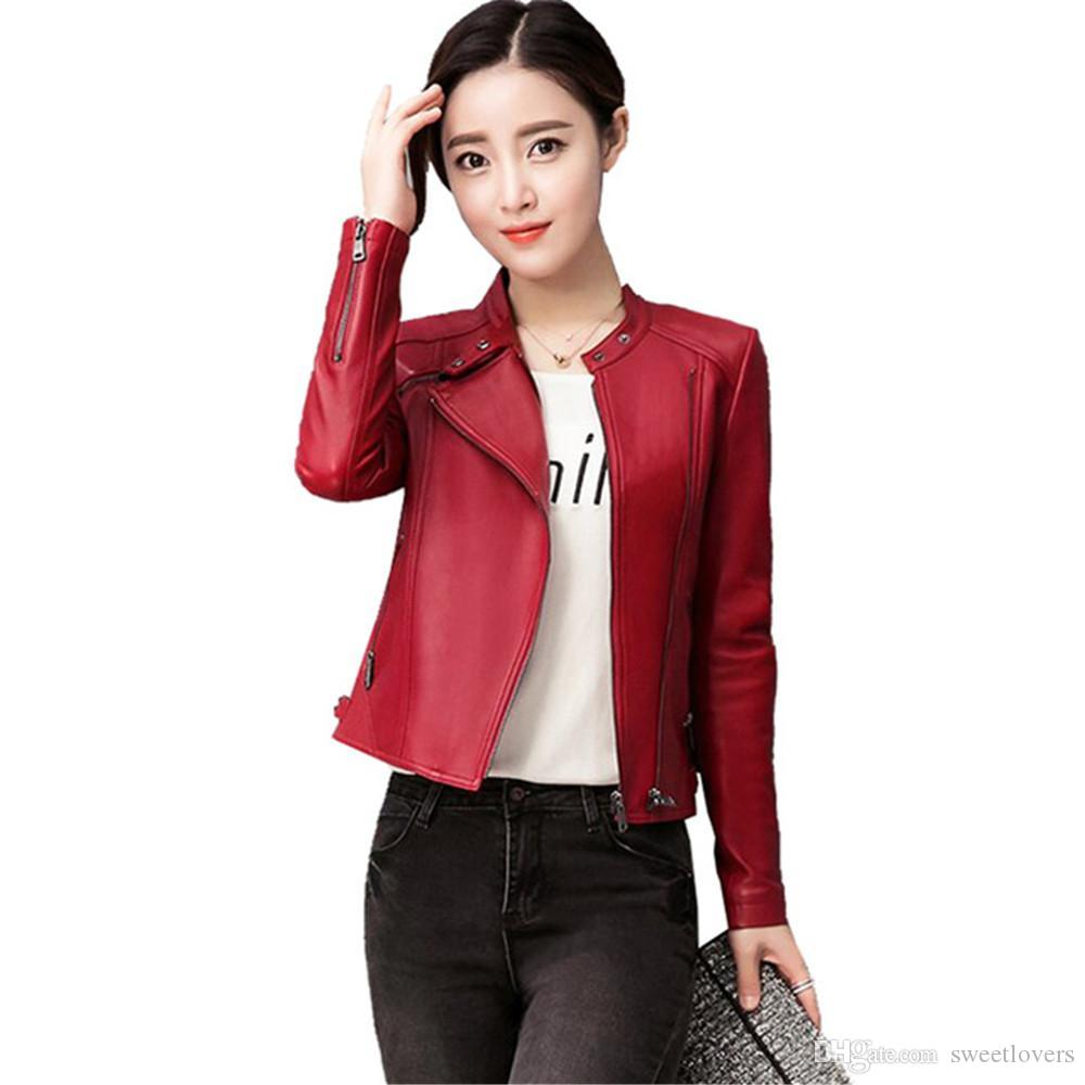 eb50273fe18 2019 New Women Faux Leather Jacket Plus Size 4XL Ladies Leather Jackets  Black Red Biker Coat Motorcycle Woman Jacket NG 026 From Sweetlovers