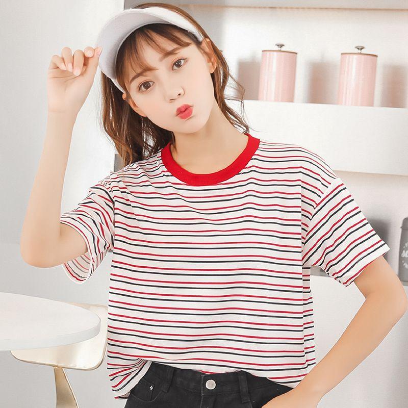 0e84dc3d3b7 2018 Summer Korean Fashion Striped T Shirt Female Hit Color White Top Women  Basic T Shirt Casual O Neck Tee Shirt S XL Dropship Cool Sweatshirts Online  ...