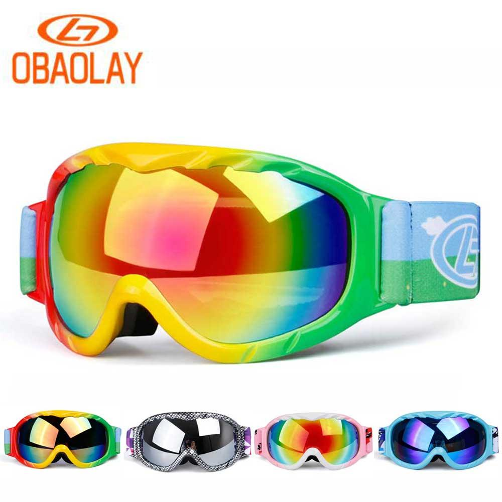 58d0eb270a6 2019 OBAOLAY Snowboard Glasses Children Ski Goggles Anti Fog Skiing Mask  Girls Boys Snowboarding Goggles Snow Kids Outdoor Full Frame From Ixiayu