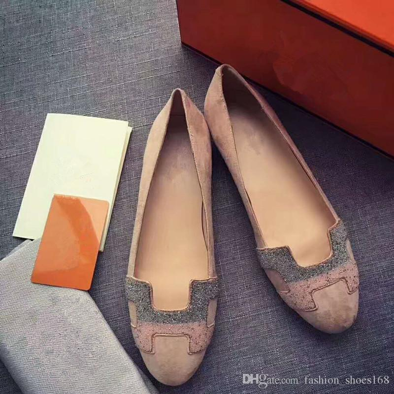 2018 Top quality Genuine Leather fashion Luxuxy comfortable breathable women summer Rhinetone Loafers for dress\Office&Career Size 35-41