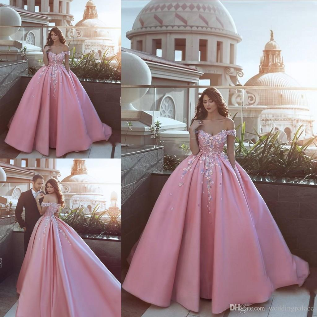 Newest Cap Sleeve Pink A Line Prom Dresses 2018 Ball Gown Satin ...