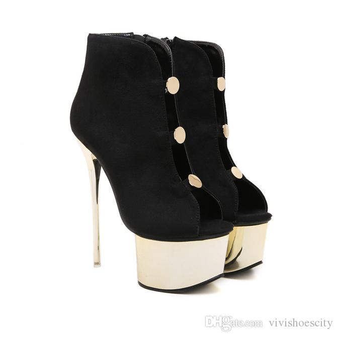 77446cce179b5 16cm Sexy Black Gold Platform Peep Toe Ankle Bootie Designer High Heels  Shoes Luxury Pumps 2018 Size 34 To 40 Men Sandals Best Shoes From  Vivishoescity, ...