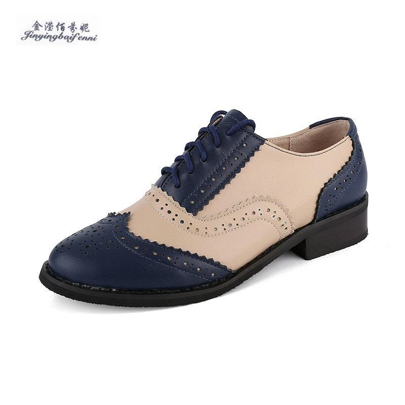 e545081678cf Acheter Taille 33 47 Chaussures Plates En Cuir Véritable Femmes Fait À La  Main Blanc Bleu Femmes Chaussures Bullock Vintage Style Britannique Oxford  Pour De ...