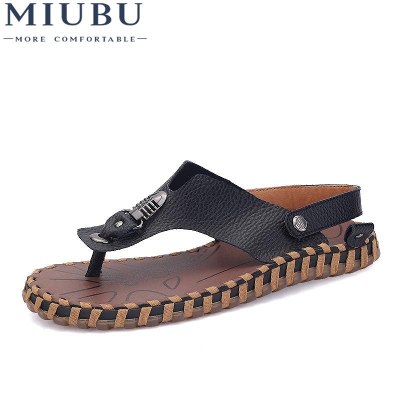 645d428b40c5 MIUBU Top Quality Mens Sandals Leisure Genuine Leather Summer Cool Light  Weight Beach Casual Shoes Handmade Stitching Walking Sandals Sandals From  Keroyeah