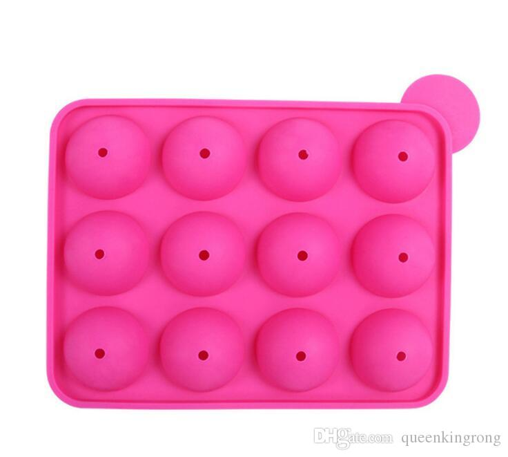12 wells Silicone Tray Pop Lollipop Pops Mould Case Cupcake Baking chocolate Mold Party Kitchen Tools
