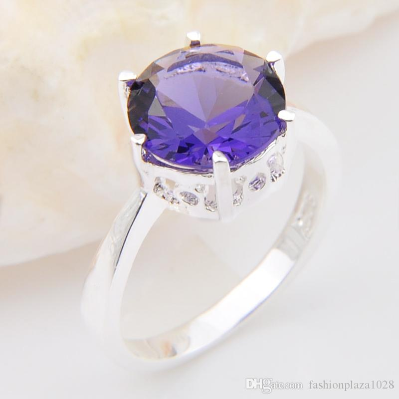 Hot 2pcs/lot Wholesale Holiday Jewelry Gift Round Topaz Amethyst Gems 925 Silver Ring Fashion Purple Women Rings