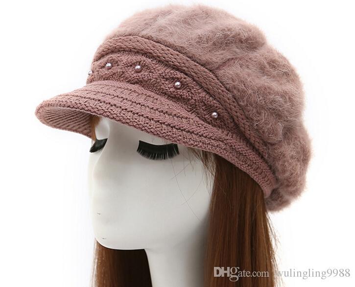 Kaşmir Örme Şapka Kore Tipi Kış kadın Bere Zorlu Kap Lady Tavşan Saç Şapka 7 Renkler