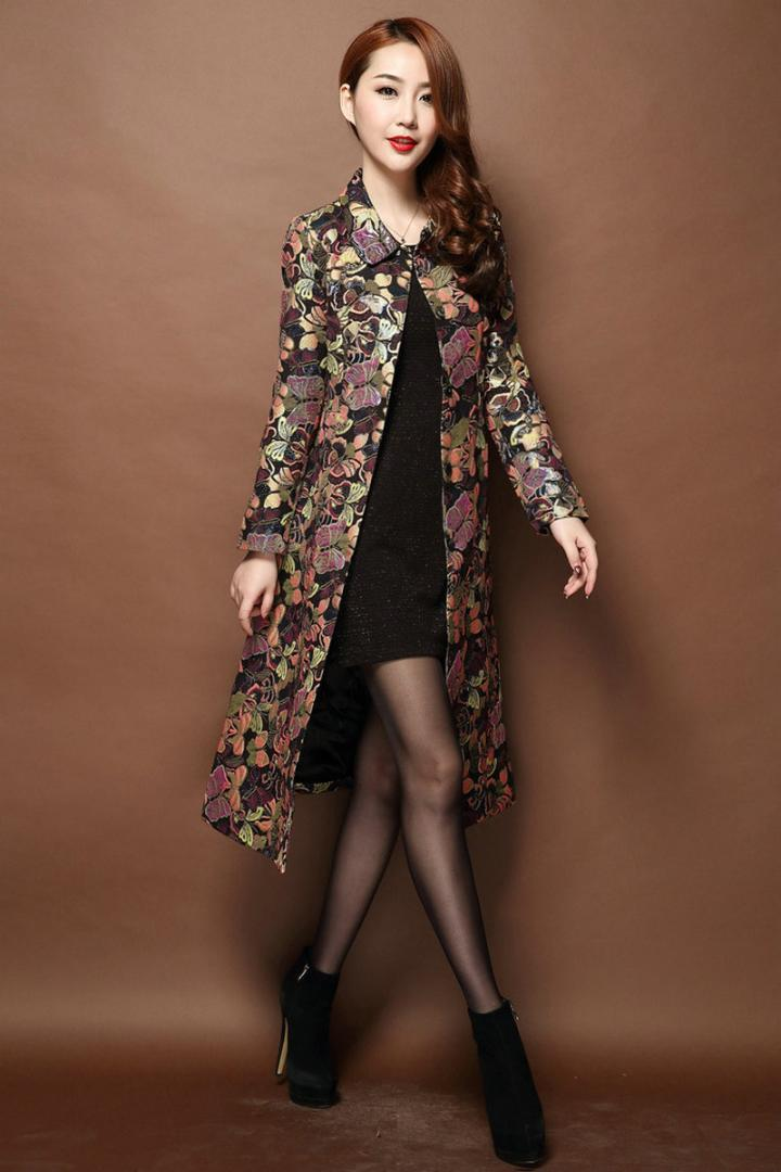 579c0953ea Women Vintage Autumn   Winter Long Floral Jacquard Trench Coat Windbreaker Slim  Women Outwear Embroidery Brocade Trench S-5XL Trench Coat Coat Trench  Floral ...