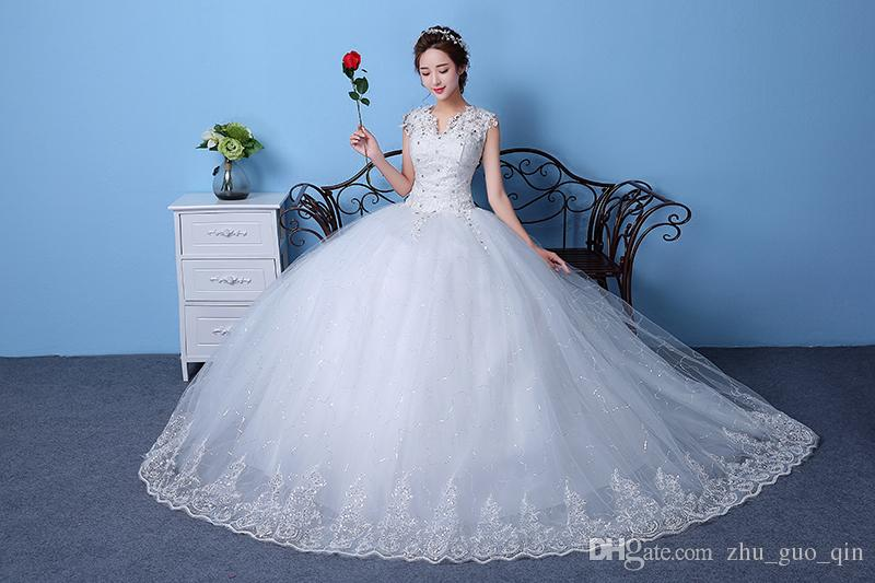 Cheap Customizable White Wedding Dress 2018 Korean Style