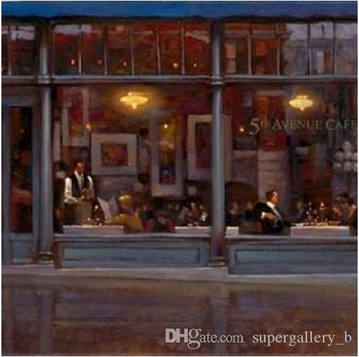 2019 Fifth Avenue Cafe By Brent Lynch Handpainted HD Print Famous Modern Art Oil Painting On Canvas Wall Home Decor High Quality L142 From