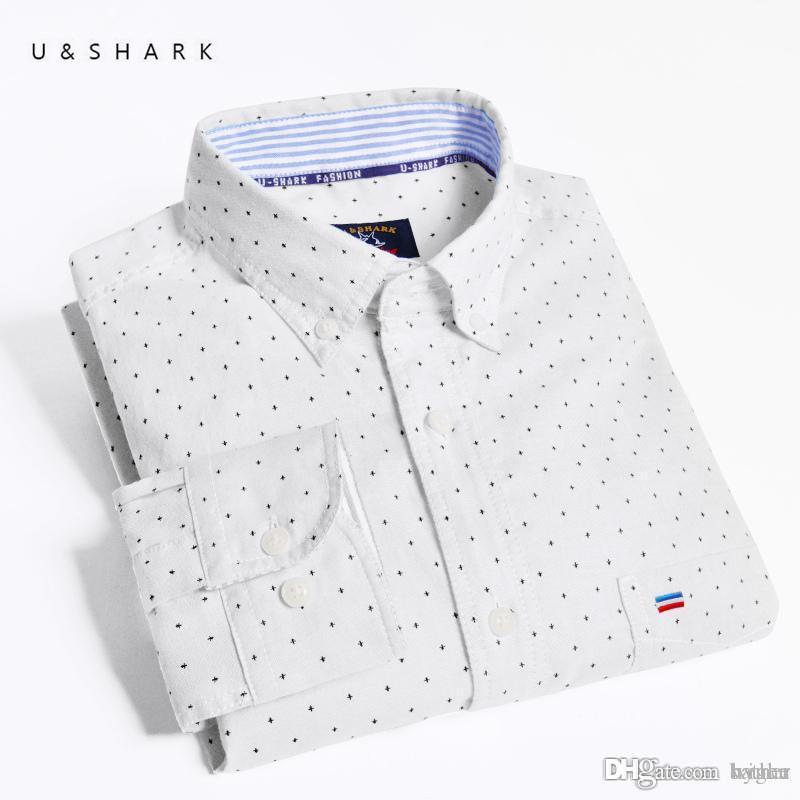 2019 Wholesale U Shark Autum New Mens Polka Dot Oxford Shirt High