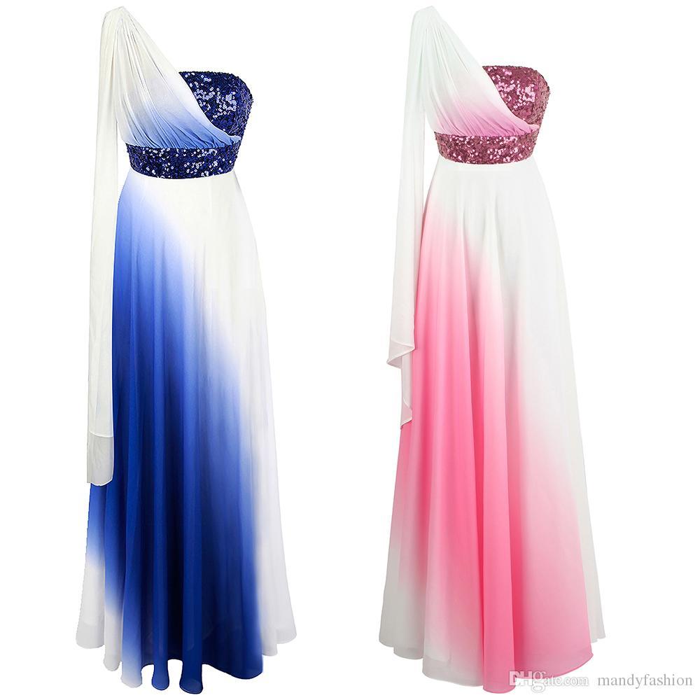 8515fb7b625b0 Angel-fashions Women s One Shoulder Sequins Ribbon Chiffon A-Line Gradient  Bridesmaid Dress Party dresses Evening Prom Gown 387