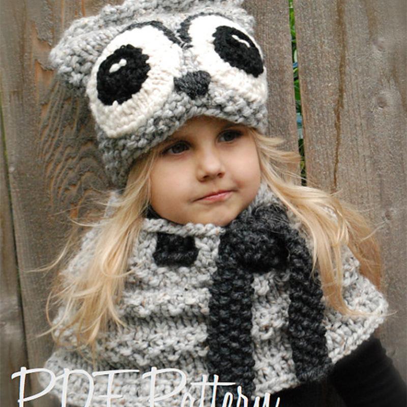 9480448b7075 2019 Cute Animal Owl Kids Winter Hats Girls Boys Children Crochet ...
