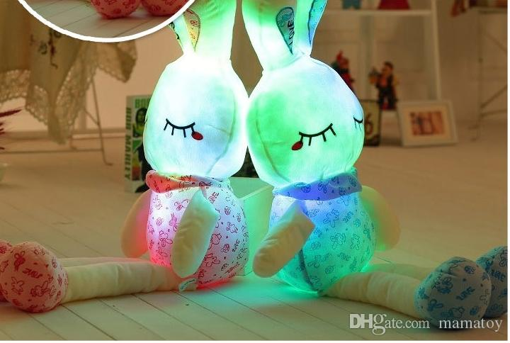 100cm LED Music Stuffed Easter Bunny Plush Rabbit Doll toys Colorfull light plush toys Valentine's Day Gifts for girls